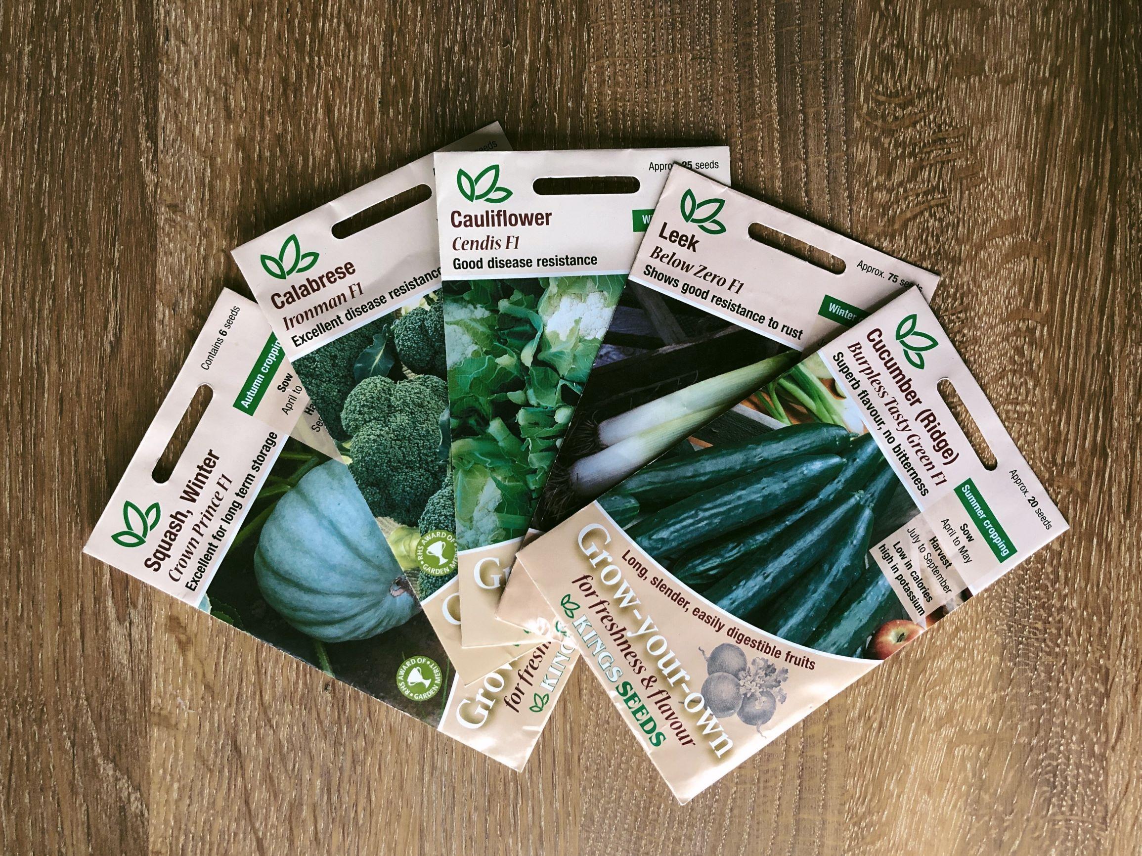 Different F1 Varieties Crown Prince, Calabrese, Cauliflower, Leek, Cucumber